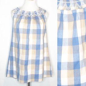 English Factory Blue/Tan/Cream  Plaid Mini Dress s